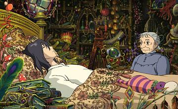 Howl (voiced by Christian Bale ) and the older version of Sophie (voiced by Jean Simmons ) in Disney's presentation of Hayao Miyazaki 's Howl's Moving Castle