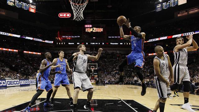 NBA - Thunder overcomes Spurs, Wizards rally against Celtics