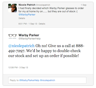 Social Media Shopping Showdown: Online Retailers Compared image warby nostock tweet1