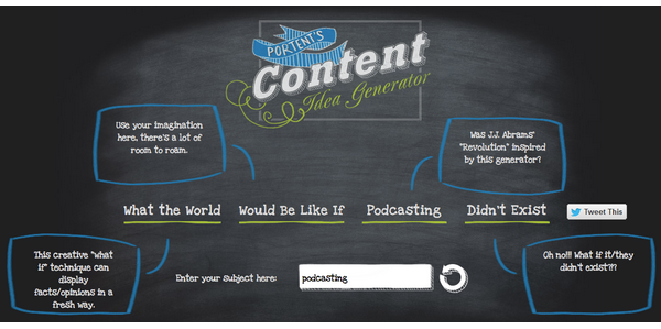 10 stunning tools to upgrade your content marketing approach for Portent idea generator