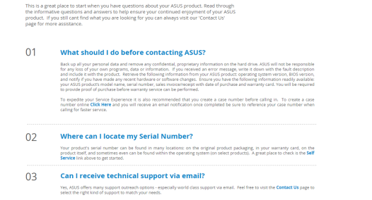 ASUS support page
