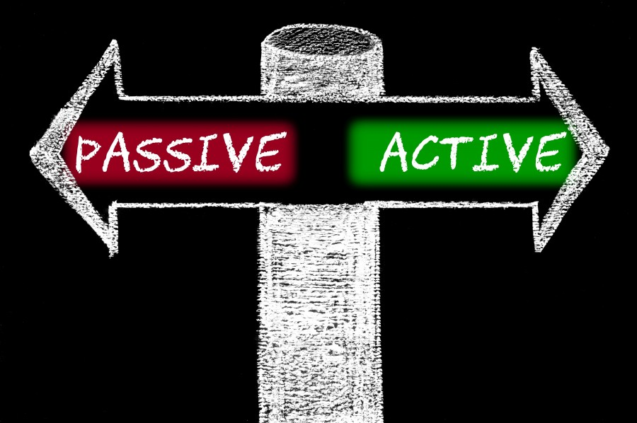 Opposite arrows with Passive versus Active