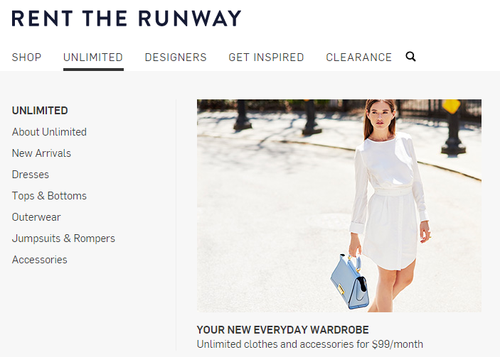 Retail marketing image showing rent the runways site