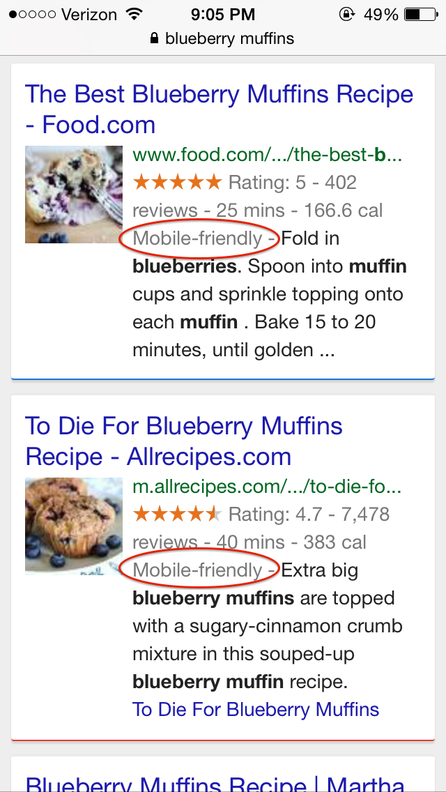 Mobile search example
