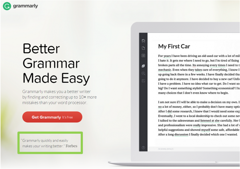 Example of Grammarly