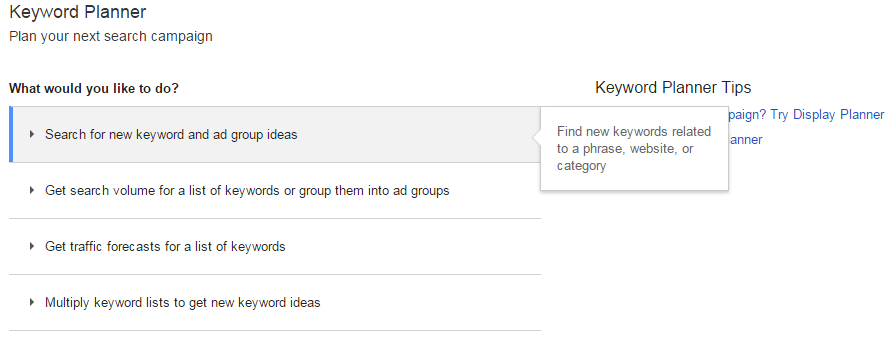 New AdWords Keyword Planner interface