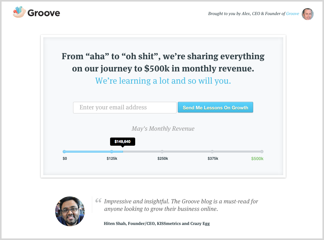 Social proof screenshot example Groove HQ
