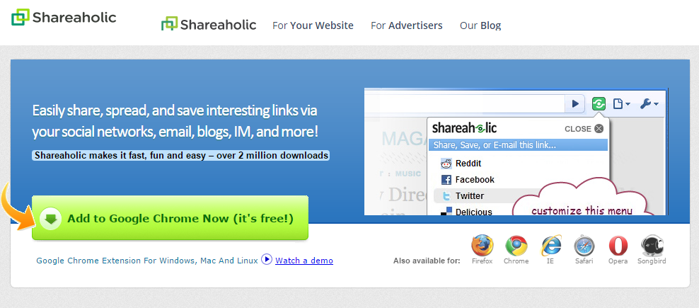 Shareaholic Web Extension