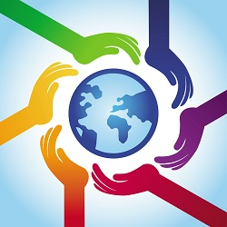 Hands encircle a globe, demonstrating that diversity and cooperation are two of the main goals when implementing human resource tools.