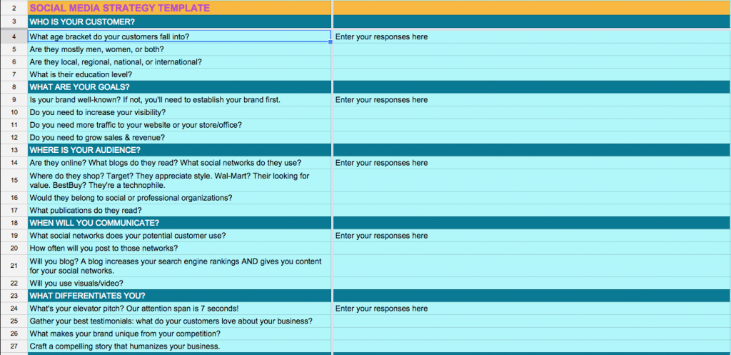 social media strategy template spreadsheet