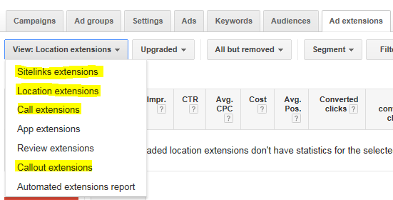 Local business marketing screenshot of AdWords extensions tab