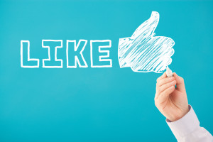 Handwritten LIKE and THUMBS UP social media