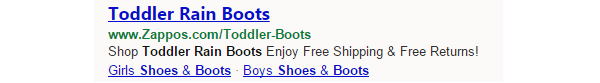 Toddler Rain Boot Ad Extensions