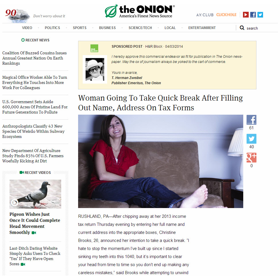 H&R Block the Onion