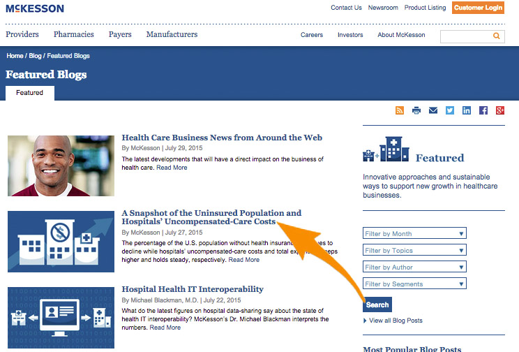 5 McKesson Corporation Featured Blog Interface Screenshot