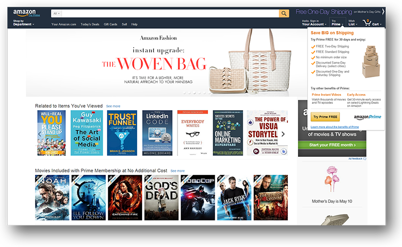 Amazon.com displays its basic customer status, Prime, with its benefits for non-registrants. It showcases a list of good reasons why a visitor should sign up.