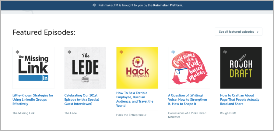 Rainmaker FM podcast image, example for how to build an audience