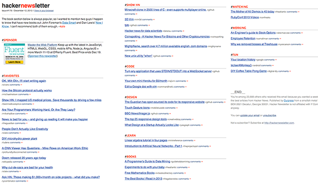 Y Combinator's Hacker Newsletter does curation particularly well.