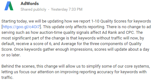 Google' announcement about an update in quality score reporting on Google+
