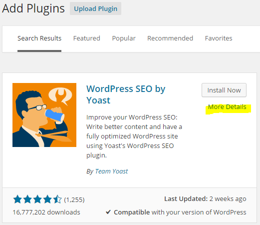 WordPress plugin more details