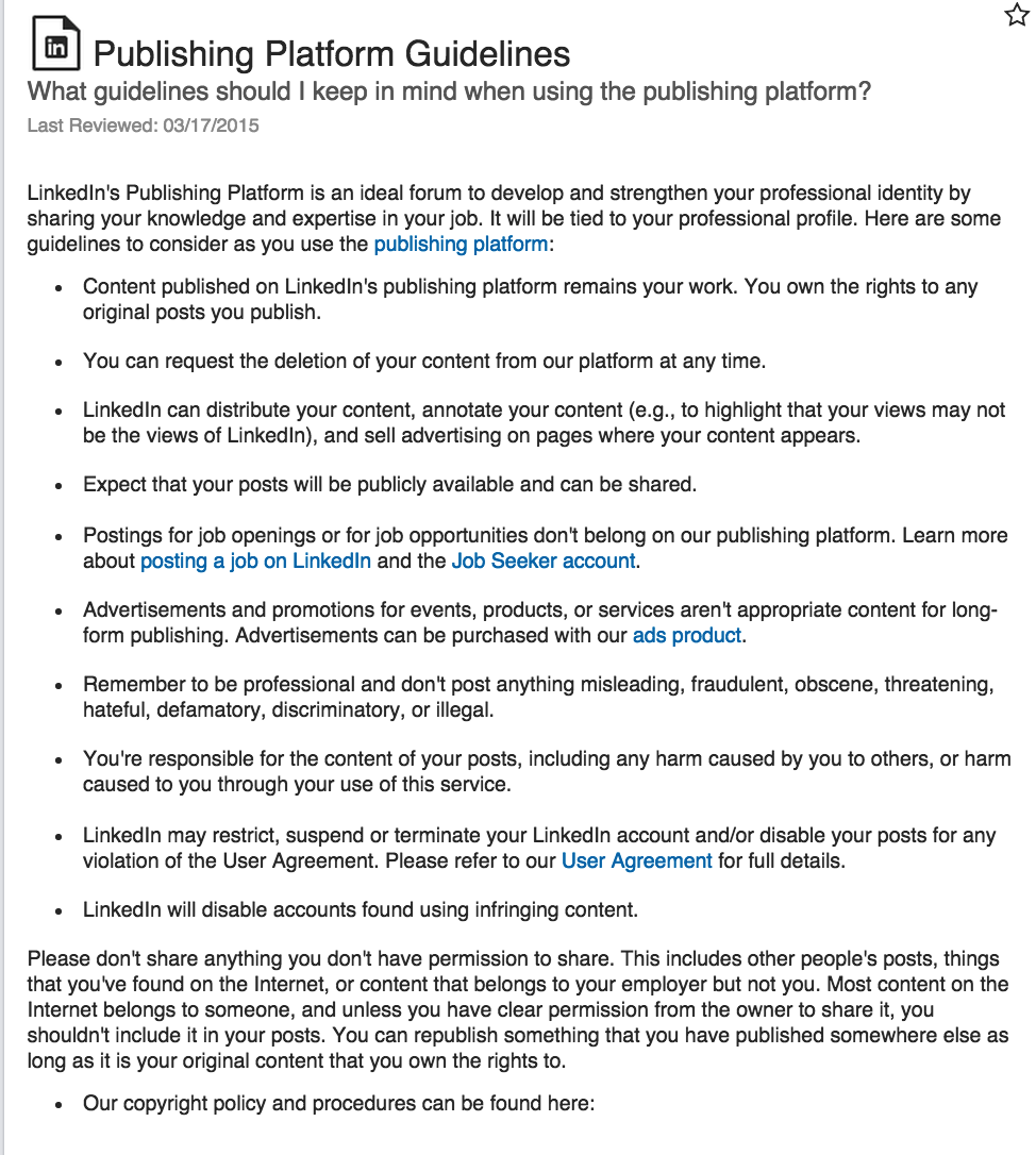 LinkedIn Guidelines for publishing