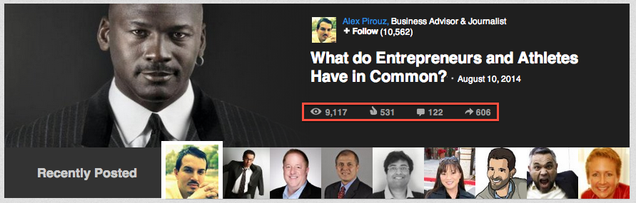LinkedIn article that made it on the homepage