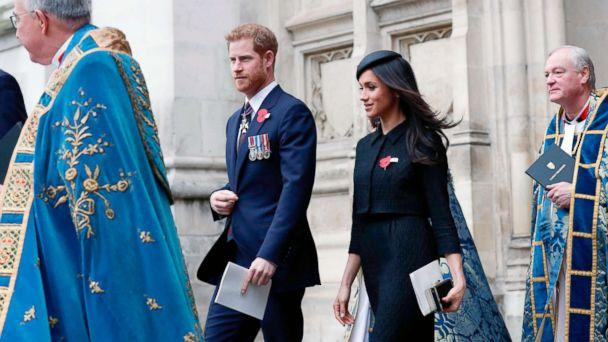 PHOTO: Britain's Prince Harry and his fiancee actress Meghan Markle leave after attending a service of commemoration and thanksgiving to mark Anzac Day in Westminster Abbey, April 25, 2018, in London. (Adrian Dennis/AFP/Getty Images)