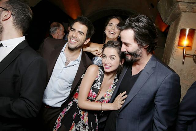 Director/Writer/Producer Eli Roth, Lorenza Izzo, Ana de Armas and Keanu Reeves seen at the Lionsgate Premiere presents the Los Angeles Special Screening of 'Knock Knock' at TCL Chinese 6 on Wednesday, Oct. 7, 2015 in Los Angeles. (Photo by Eric Charbonneau/Invision for Lionsgate Premiere/AP Images)