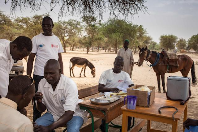 A vaccine drive in the village of Agang in the Ouaddai highlands region of eastern Chad, bordering west Sudan on March 25, 2019.