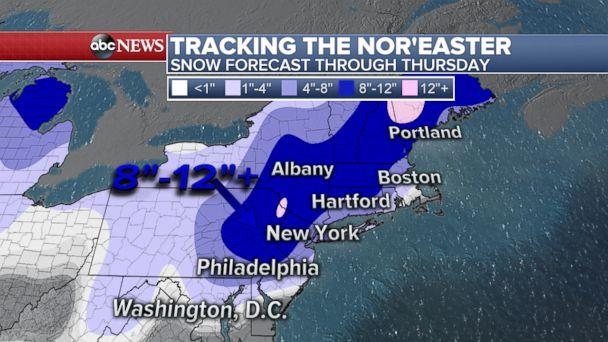 PHOTO: Snow forecast through Thursday. (ABC News)