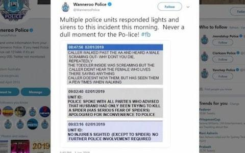 The now-deleted tweet by Wanneroo police