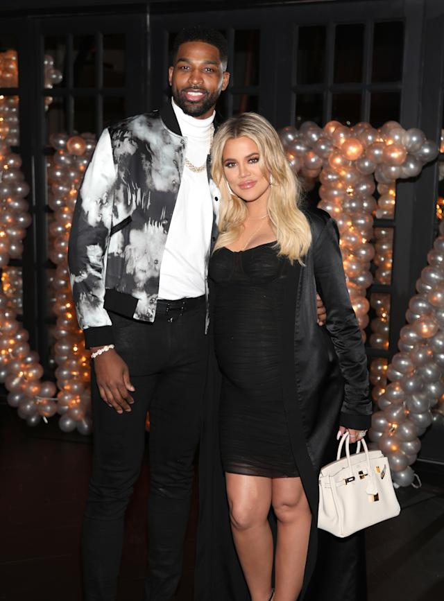 Tristan Thompson and Khloe Kardashian pose together at his birthday celebration in 2018.  (Jerritt Clark via Getty Images)