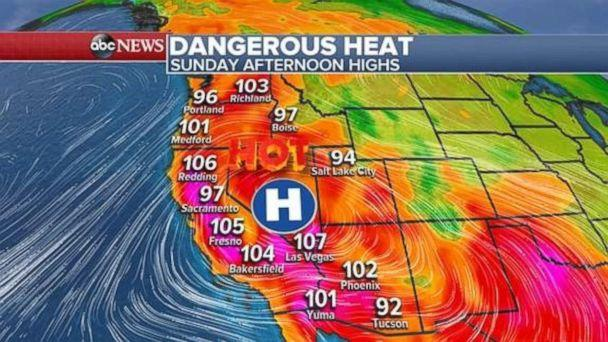 Dangerous heat, over 100 degrees in places in inland California, is in place for Sunday afternoon. (ABC News)
