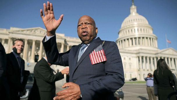 PHOTO: Rep. John Lewis thanks anti-gun violence supporters following a rally with fellow Democrats on the East Front steps of the U.S. House of Representatives, Oct. 4, 2017, in Washington, DC. (Chip Somodevilla/Getty Images)