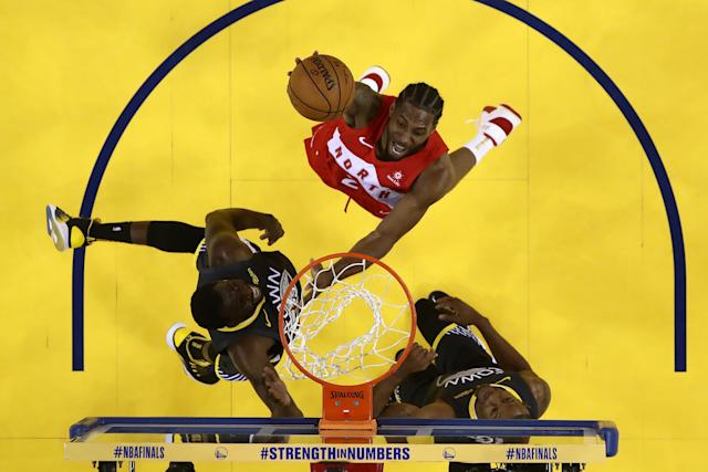 Kawhi Leonard #2 of the Toronto Raptors attempts a shot against the Golden State Warriors during Game Six of the 2019 NBA Finals at ORACLE Arena on June 13, 2019 in Oakland, California. (Photo: Lachlan Cunningham/Getty Images)