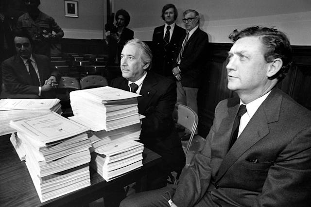 John Doar (right), the House Judiciary Committee's chief counsel, sits with Chiarman Peter Rodino in the midst of the impeachment inquiry into Richard Nixon in 1974.