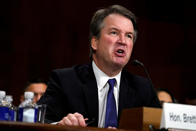 Supreme Court nominee Brett Kavanaugh on Thursday was questioned about his character in high school, notably the hard-partying lifestyle that was depicted in his yearbook. (POOL New / Reuters)