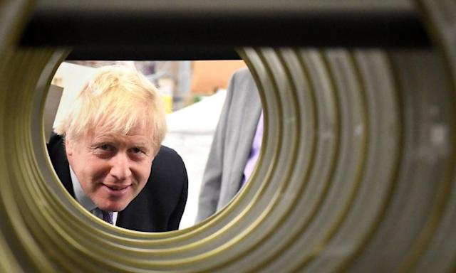 Boris Johnson visits a washing machine factory in in Newton Aycliffe, County Durham
