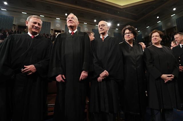 From left: Chief Justice John Roberts and Supreme Court Justices Anthony Kennedy, Stephen G. Breyer, Sonia Sotomayor and Elena Kagan arrive for President Trump's first address to a joint session of Congress from the floor of the House of Representatives on Feb. 28, 2017. (Photo: Jim Lo Scalzo/Pool/Reuters)