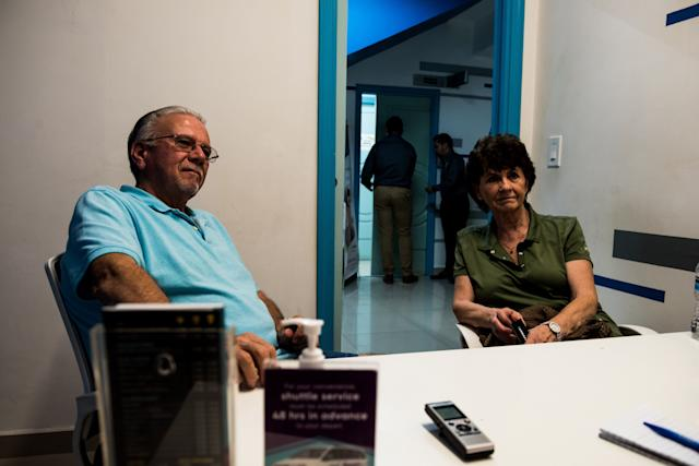 Dan, 77, and Donette Brower, 75, of Spokane, Washington, sit in the consultation room before getting new X-rays and routine cleanings at Sani Dental Group in Los Algodones, Baja California, Mexico on Oct. 23, 2019.  (Photo: Ash Ponders for HuffPost)