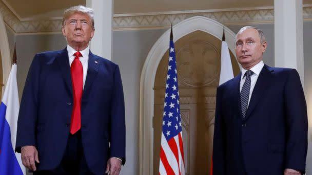 PHOTO: President Donald Trump and Russia's President Vladimir Putin meet in Helsinki, Finland, July 16, 2018. (Kevin Lamarque/Reuters)