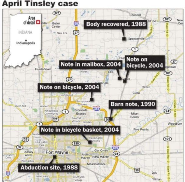 PHOTO: Police received a lead in the murder case of April Tinsley in 2004, when the self-proclaimed killer left notes, images and used condoms at three different locations in Indiana. (FBI)