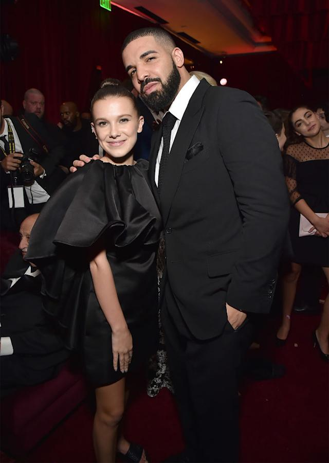 Millie Bobby Brown and Drake attend the Netflix Golden Globes after party at Waldorf Astoria Beverly Hills on January 7, 2018 in Beverly Hills, California.