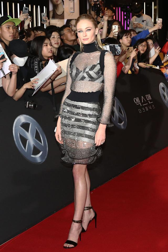 Sophie Turner's Naked Chainmail Dress