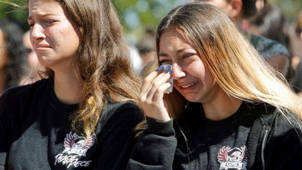 PHOTO: Students mourn during a community prayer vigil for victims of yesterday's shooting at nearby Marjory Stoneman Douglas High School in Parkland, at Parkridge Church in Pompano Beach, Fla., Feb. 15, 2018. (Jonathan Drake/Reuters)