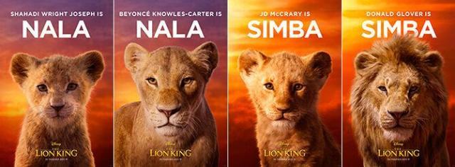 Carteles de Nala y Simba, de jóvenes y adultos en El Rey León (Cortesía de Walt Disney)