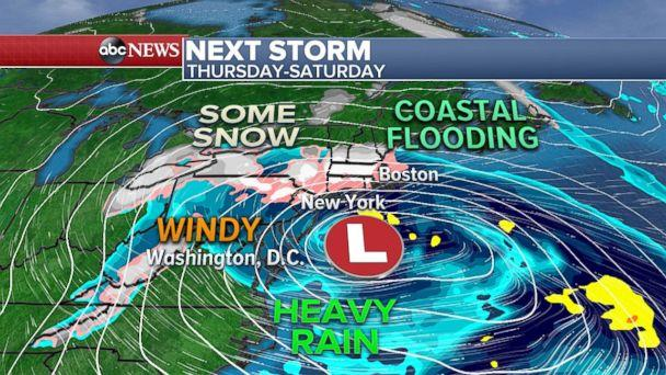 By late Thursday, another strong coastal storm may be forming in the Northeast. (ABC News)