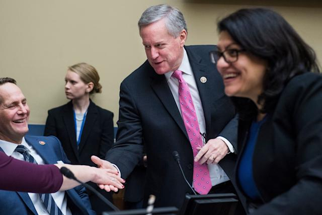 Reps. Mark Meadows, R-N.C., center, Harley Rouda, D-Calif., left, and Rashida Tlaib, D-Mich., talk during a House Oversight and Reform Committee business meeting in Rayburn Building on Jan. 29, 2019. (Photo: Tom Williams/CQ Roll Call/Getty Images)