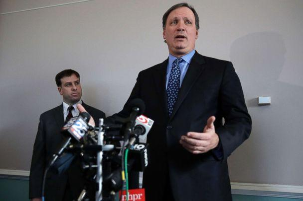 PHOTO: New Hampshire Lottery executive director Charles McIntyre, right, addresses reporters following a hearing in the Jane Doe v. NH Lottery Commission case, Feb. 13, 2018. (Charles Krupa/AP Photo)