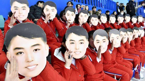PHOTO: North Korean cheerleaders cheer the unified Korean team ahead of its women's preliminary round ice hockey game against Switzerland in Gangneung, South Korea, at the Pyeongchang Winter Olympics, Feb. 10, 2018. (Kyodo via Newscom)